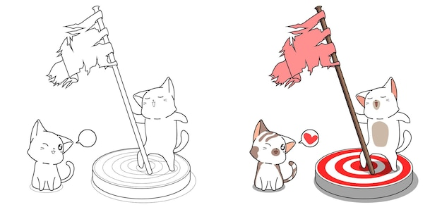 Cute cats and goal cartoon coloring page