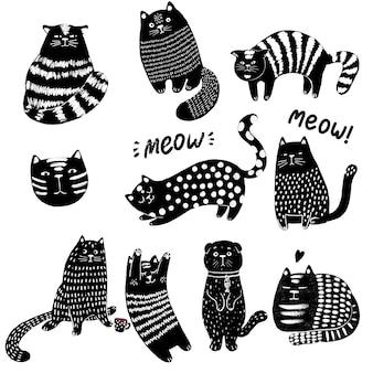 かわいい猫の手描きセット。面白い子猫のキャラクターの落書きイラスト。フラットペットベクトルイラスト