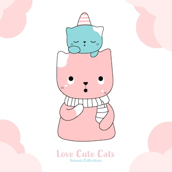 Cute cats hand drawn style