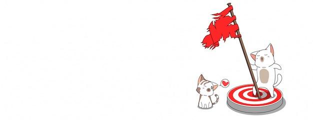 Cute cats has successful illustration