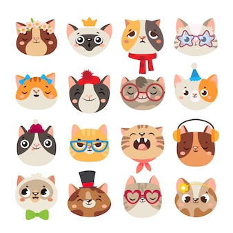 Cute cats heads. cat muzzle, domestic kitty face wearing hat, scarf and color party glasses isolated cartoon set