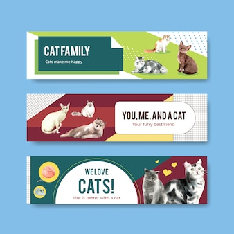 Cute cats illustration in watercolor style for panoramic banner or header template