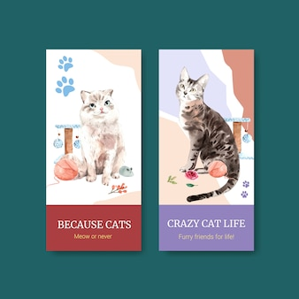 Cute cats illustration in watercolor style. ready to print