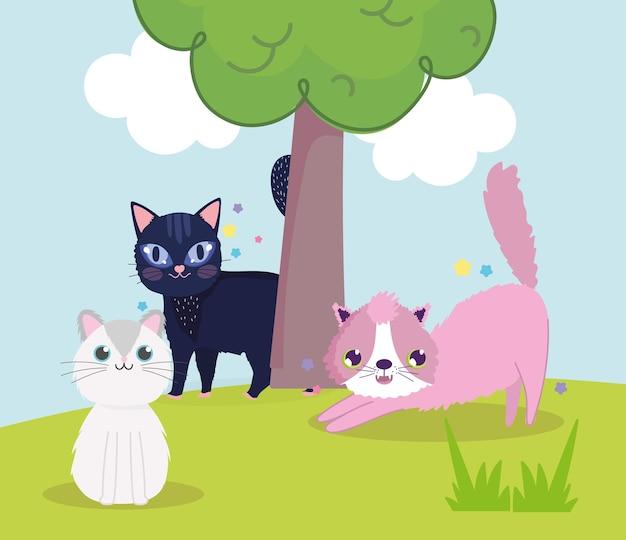 Симпатичные кошки на лугу с деревом мультфильм векторные иллюстрации