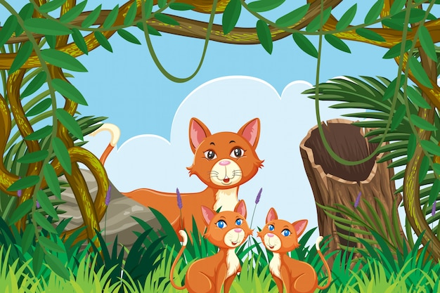 Cute cats in jungle scene