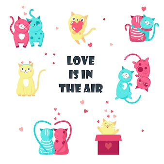 Cute cats in love isolated illustration