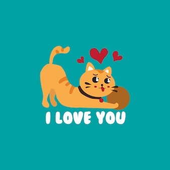 Cute cats in love valentines day vector