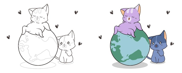 Cute cats love the world cartoon coloring page for kids