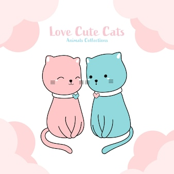 Cute cats lover hand drawn style
