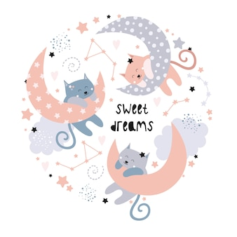 Cute cats on the moon. sweet dreams.