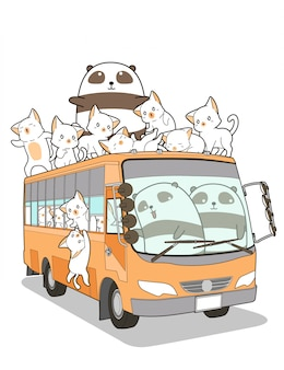 Cute cats and panda and bus in cartoon style.