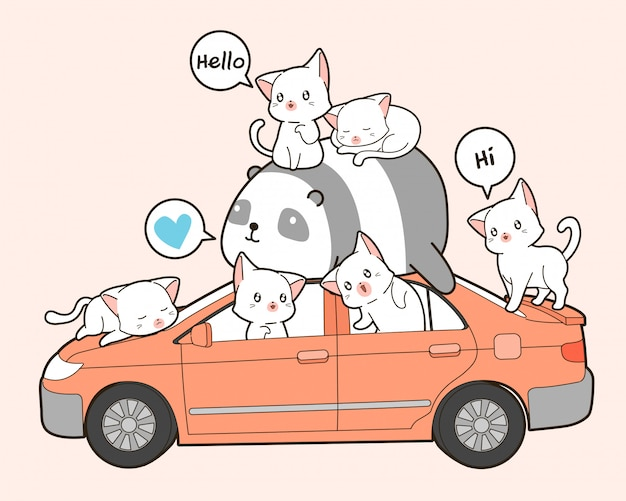 Cute cats and panda with car in cartoon style.