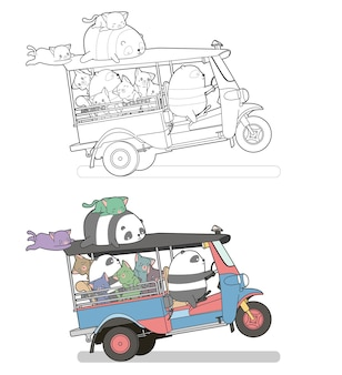 Cute cats and pandas on the tricycle cartoon easily coloring page for kids