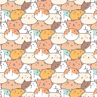 Cute Cats Pattern Background.