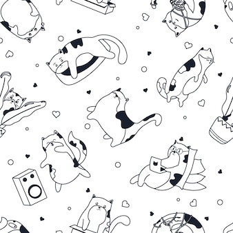 Cute cats pattern in black cute kitten working at laptop listening to music vector texture