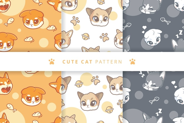 Cute cats pattern collection