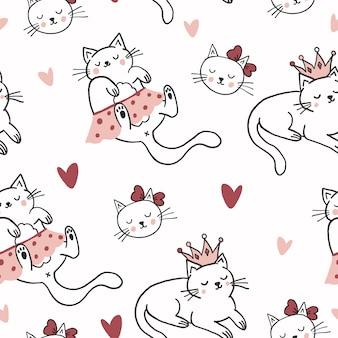 かわいい猫のパターンデザイン