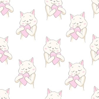 Cute cats pet seamless pattern