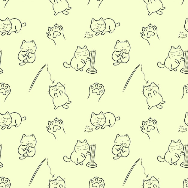 Cute cats playing with cat toys hand drawn cartoon style seamless pattern.