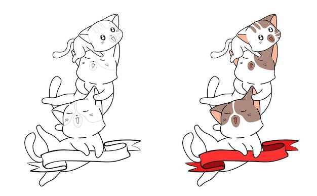 Cute cats and ribbon cartoon coloring page for kids