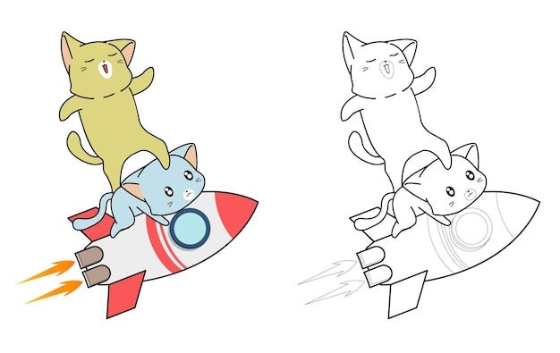 Cute cats and rocket cartoon coloring page