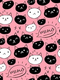 귀여운 고양이 원활한 배경. 손으로 그린된 벡터 패턴입니다.