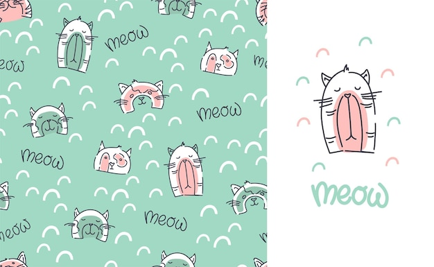 귀여운 고양이 완벽 한 패턴입니다. 아이들은 옷을 인쇄합니다. 고양이와 비문이 있는 엽서. 벡터 배경입니다.