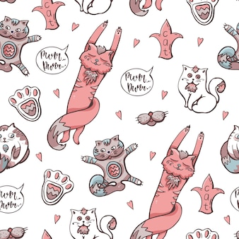 Cute cats seamless pattern. hand-drawn illustration for children. vector background.