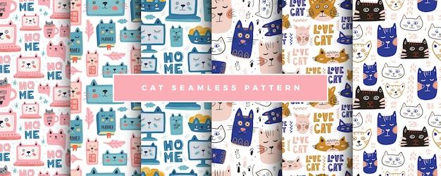 かわいい猫のシームレスパターンセット