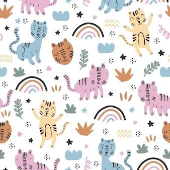 面白い子供っぽい絵とかわいい猫のシームレスなパターン