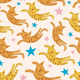 Cute cats seamless pattern with stars funny drawing of  kittens