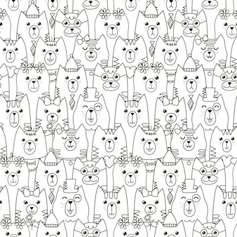 Cute cats seamless pattern.