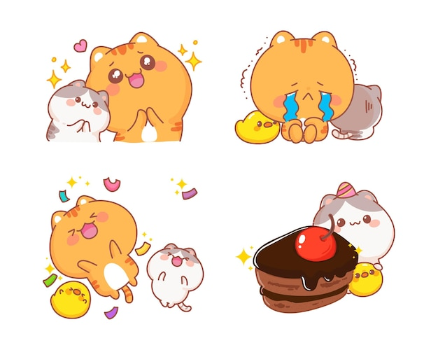 Cute cats set of happy character cartoon illustration