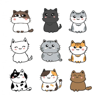 Cute cats set.
