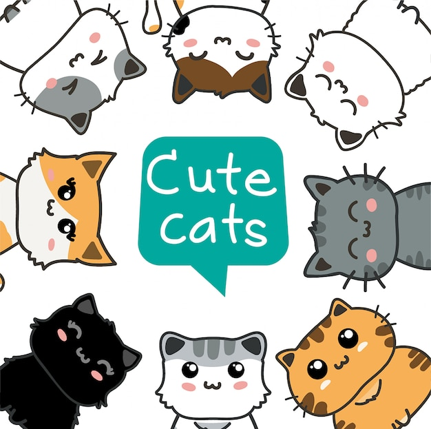 Cute cats set