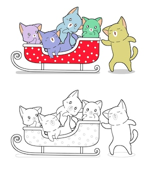 Cute cats and sleigh vehicle cartoon coloring page