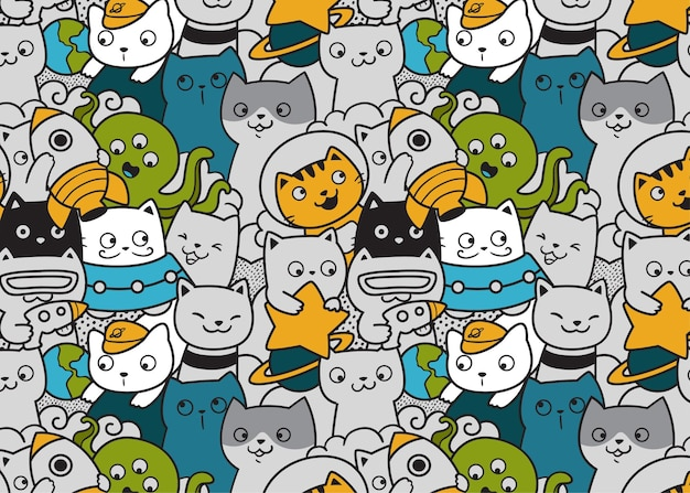 Cute cats in space pattern doodle