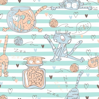 Cute cats on striped pattern