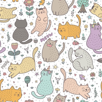 Cute cats in the summer seamless pattern