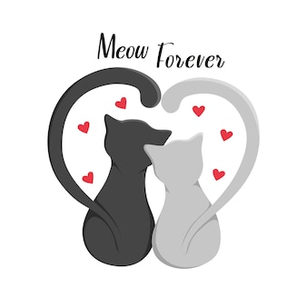 Cute cats together with the inscription meow forever, isolated on a white background. print for clothes, pillows and mugs. vector illustration eps10.