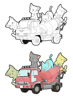 Cute cats on the truck cartoon coloring page for kids