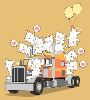 Cute cats on the truck in cartoon style.