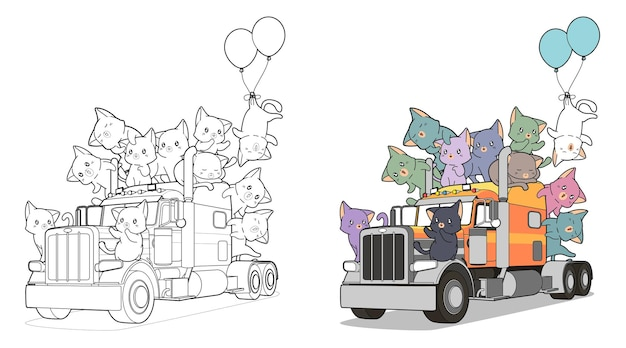Cute cats on the truck easily coloring page for kids