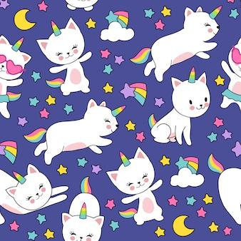 Симпатичные кошки единорог бесшовные модели