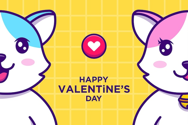 Cute cats in valentines day