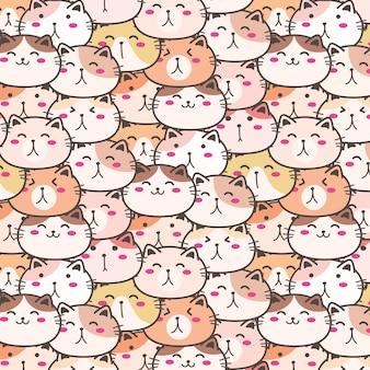 かわいい猫ベクトルパターンの背景。