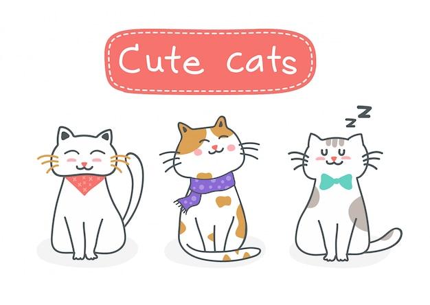 Симпатичные кошки вектор