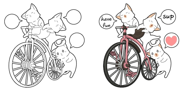 Cute cats and vintage bicycle cartoon coloring page for kids