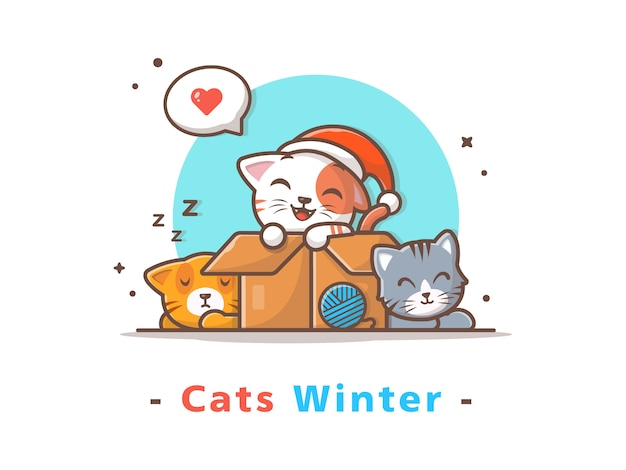 Cute cats winter season