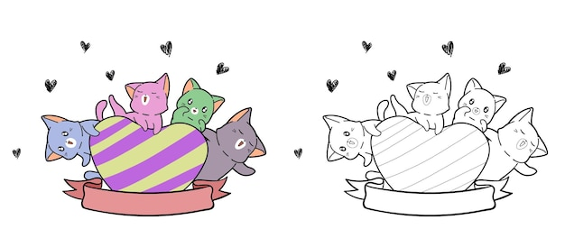 Cute cats with big heart cartoon coloring page